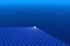 Blue 3D background. Glass spheres on blue graph paper (hires 3D background Vector Illustration