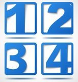 Blue 3d banners with numbers. With shadows. Vector illustration Stock Photo