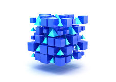 Blue 3D Blocks. White background. Clipping path is included Stock Photography