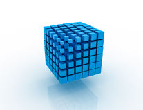 Blue 3D Blocks. White background. Clipping path is included Stock Photos