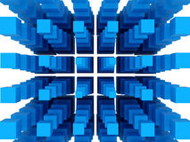 Blue 3D Blocks. White background. Clipping path is included Stock Photo