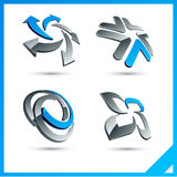 Blue 3d company signs. Set of vector business blue 3d signs Royalty Free Stock Images