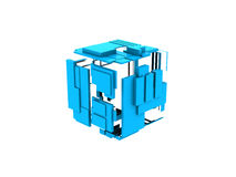 Blue 3d cube square. 3d rendered blue squares with panels on white background Stock Photos