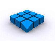 Blue 3d cube square. 3d rendered blue squares on white background Royalty Free Stock Photo