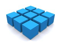 Blue 3d cube square Stock Images