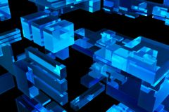 Blue 3D Cubes Stock Photos