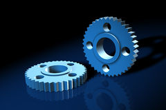 Blue 3d Gears Stock Images