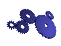 Blue 3d gears. Illustration of 3d cogs working together Royalty Free Stock Image