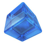 Blue 3D glass rounded cube Royalty Free Stock Photography