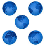 Blue 3d glossy globe Royalty Free Stock Image