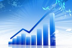 Blue 3d graph Royalty Free Stock Photo