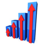 Blue 3D graph with red arrows Royalty Free Stock Images