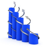 Blue 3D graph with twisted arrows. On white background Stock Image