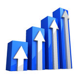 Blue 3D Graph with white arrows. On white background Stock Photos