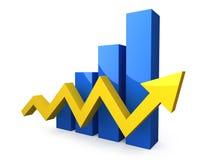 Blue 3D graph with yellow arrow Stock Photos