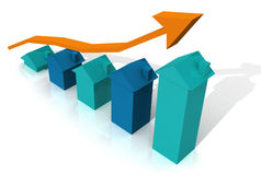 Blue 3D house graph with Arrow Stock Image