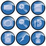 Blue 3d Icons. Nine blue 3d round icons for multimedia use stock images