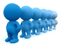 Blue 3D men in line Royalty Free Stock Photo