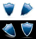 Blue 3D shields. Vector editable blue 3D shields Stock Photo