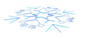 Blue 3D snow flake Stock Images