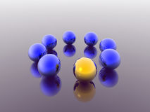 Blue 3d spheres. Blue and gold 3d spheres Royalty Free Stock Photo