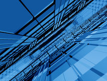 Blue 3d structure infinity. Blue 3d spatial structure in dynamic perspective Royalty Free Stock Photo