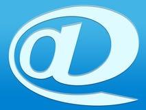 @ on blue. @ symbol on shaded blue vector illustration