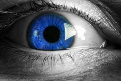 Blue. Close up of a captivating blue eye Stock Photography
