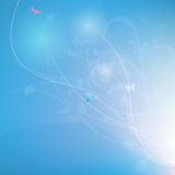 Blue abstrack background with lines and florals,  Royalty Free Stock Photography