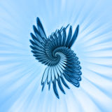 Blue abstract. Illustration of a blue fractal abstract shape with bursts of light in background Royalty Free Stock Photos