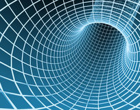 Blue abstract 3d tunnel from a grid Royalty Free Stock Photo