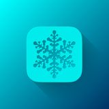 Blue Abstract App Icon Template with Snowflake Royalty Free Stock Images