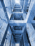Blue abstract architecture 3d background. With interior of braced construction and blueprints royalty free illustration