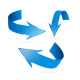 Blue Abstract Arrows Set. Isolated on White Background royalty free illustration