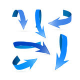 Blue Abstract Arrows Set. Isolated on White Background Stock Illustration