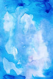 Blue abstract artistic background painted with watercolors for d Stock Image