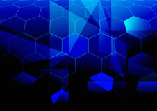 Blue Abstract Background. Hexagonal Shapes in Shades of Blue / Vector Stock Image