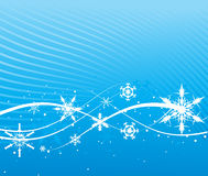 Blue abstract background. Abstract wave blue background with snowflakes. Vector illustration Stock Photos