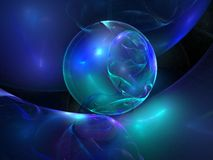 Blue abstract background. A blue abstract background with a floating bubble Royalty Free Stock Images