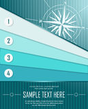 Blue abstract background with banners and windrose. Vector illustration royalty free illustration
