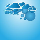 Blue abstract background with clouds. Abstract background with clouds and blue circles vector illustration