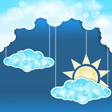 Blue abstract background with clouds and sun royalty free illustration