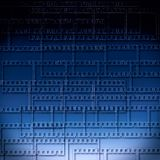 Blue abstract background with filmstrips Stock Images