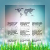 Blue Abstract background with grass, template. With world map icon  vector illustration for mass media Stock Photography