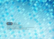 Blue abstract background in modern of square technology illustration. Vector Stock Photo