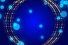 Blue abstract background, particle and form. Blue abstract background, particle and gold form Royalty Free Stock Photo