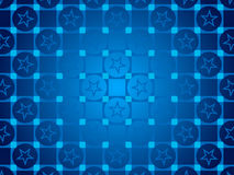 Blue abstract background, particles circles and squares, stars Royalty Free Stock Photos