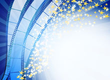 Blue abstract background with retro blue film strips Stock Photo