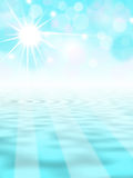 Blue abstract background with sun. Abstract background with sun above water level Stock Photos