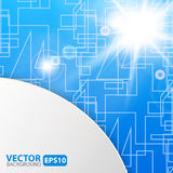 Blue abstract background with sunburst flare Stock Photography